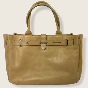 Furla Great Tote Bag Neutral Leather Buckle Purse